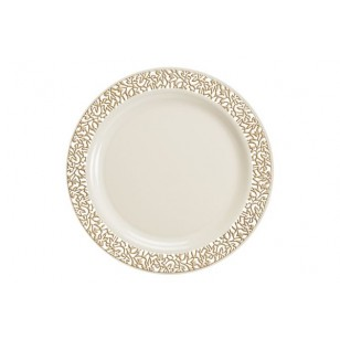 Lace 10.25'' Gold/Ivory Strong Plastic Plates (10pk)