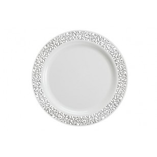 Lace 10.25'' Silver/White Strong Plastic Plates (10pk)