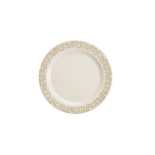 Lace 7.5'' Gold/Ivory Strong Plastic Plates (10pk)