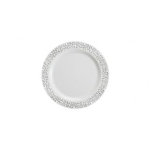 Lace 7.5'' Silver/White Strong Plastic Plates (10pk)