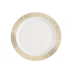 Royalty 10.25'' Gold/Ivory Heavyweight Plastic Plate (10pk)
