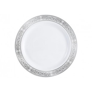 Royalty 10.25'' Silver/White Heavyweight Plastic Plates (10pk)