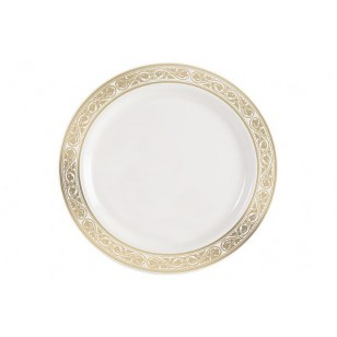 Royalty 9'' Gold/Ivory Heavyweight Plastic Plate (10pk)