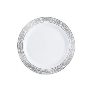 Royalty 9'' Silver/White Heavyweight Plastic Plates (10pk)