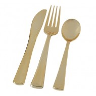 Gold Heavyweight Plastic Combo Cutlery Set (24pk)