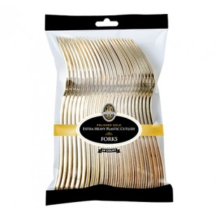 Gold Heavyweight Plastic Forks (24pk)