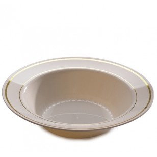 Round Gold Rimmed Bone 12oz Bowl (15pk)