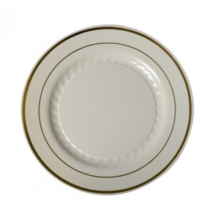 Round Gold Rimmed Bone Salad Plate 7'' (15pk)
