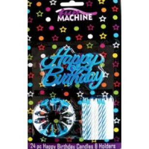 Happy Birthday Candles & Holders - Blue