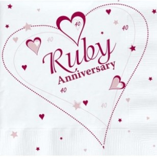 Ruby Anniversary Lunch Napkins
