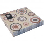 Brown Circle 3ply Paper Napkins 33cm (20pk)