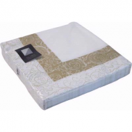 White And Gold Leaf 3ply Paper Napkins 33cm (20pk)
