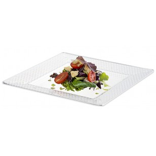 Clear Square Hexagon Design Plate 8'' (10pk)